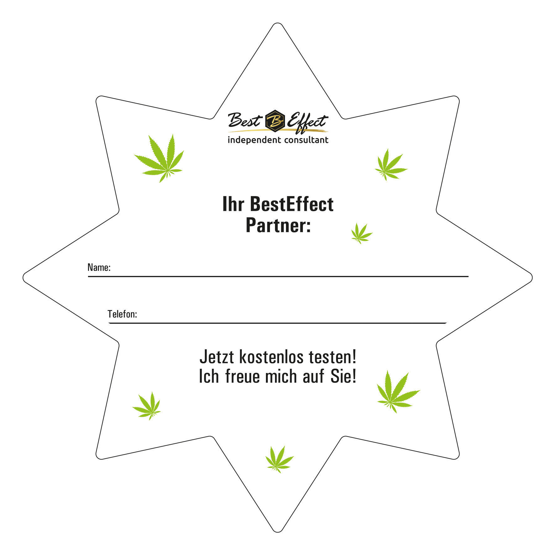 """50-pack """"Canna"""" star flyer with business card"""